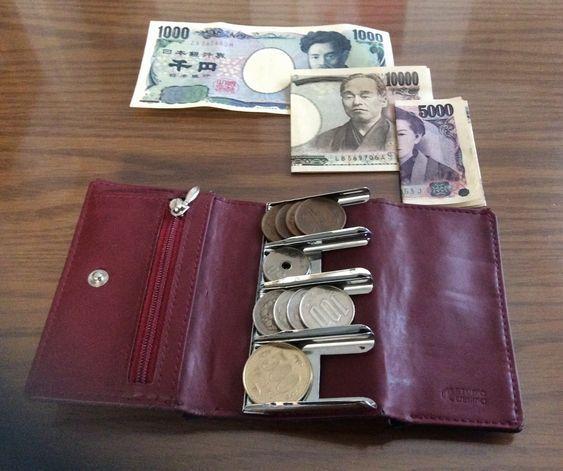 硬貨が分類できる財布と、お札の分類の例